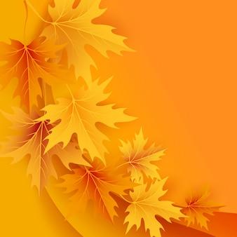 Jesienne klony spadające liście tło. ilustracja.