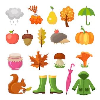 Jesienne kolorowe symbole. zestaw ikon jesienią