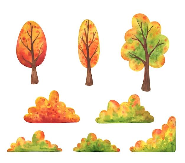 Jesienne krzewy i drzewa. zestaw pożółkłych, opadających roślin do dekoracji