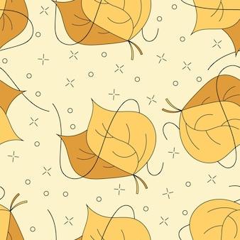 Jesienne liście bez szwu w kolorach żółtym, pomarańczowym i brązowym do projektowania sezonowego lub tapety