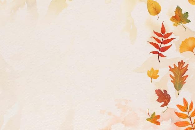 Jesienne liście beżowe tło wektor