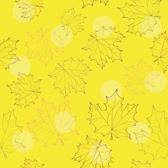 Jesienne liście bezszwowe - jasnożółte tło wektor