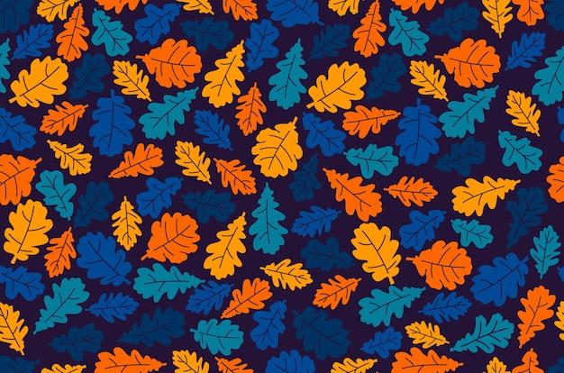 Jesienne liście dębu. wzór.