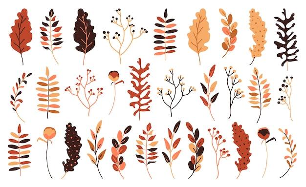 Jesienne liście i jagody płaski zestaw. ręcznie rysowane abstrakcyjny styl ozdobny skład sezonowy na zaproszenie. liść jesienny, żółty, pomarańczowy i czerwony.