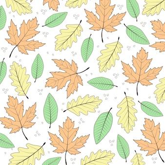 Jesienne liście kwiatowy wzór doodle vector