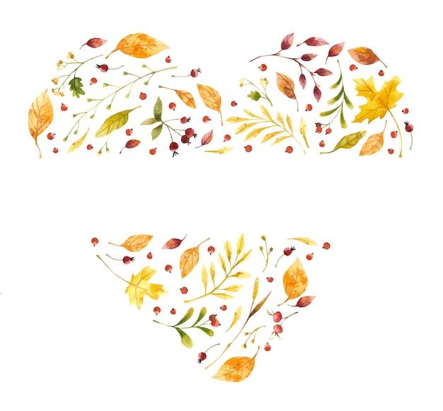 Jesienne liście serce z miejscem na tekst akwarela clipart jesienne rośliny leśne