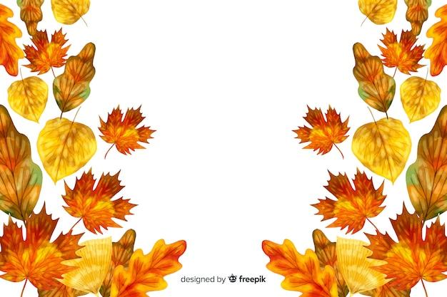 Jesienne liście styl akwarela tło