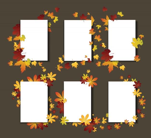 Jesienne liście szablonów kart. białe karty z jesienną dekoracją.