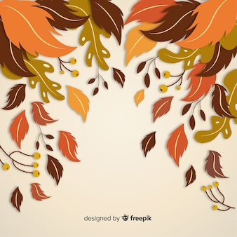 Jesienne liście tło płaska konstrukcja