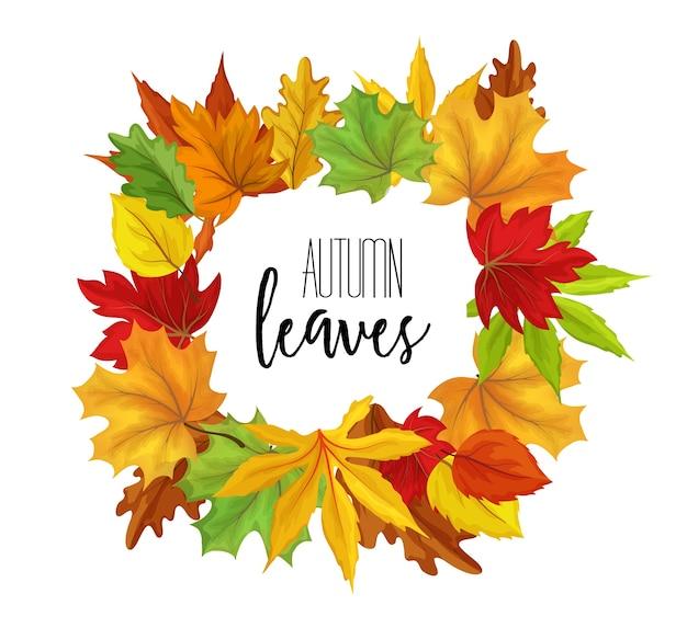 Jesienne liście w kwadratowej ramce, klon i liście dębu na jesień. ilustracja