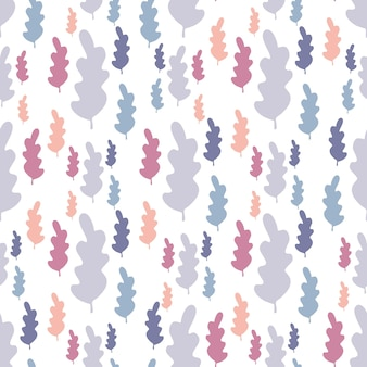 Jesienne liście wzór w pastelowych kolorach. tło gałąź liść. tapeta sezon jesienny. wektor ilustracja lasu na białym tle. prosty płaski styl do tkanin tekstylnych, owijania