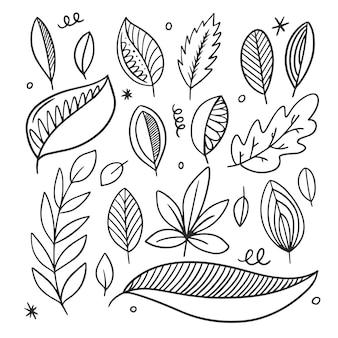 Jesienne liście zestaw czarna grafika liniowa ręcznie rysowane szkic doodle