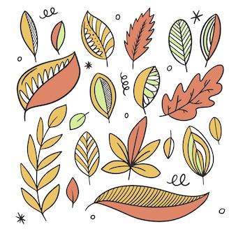 Jesienne liście zestaw linia sztuki kolorowy styl ręcznie rysowane szkic doodle
