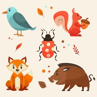 Jesienne opakowanie zwierząt leśnych