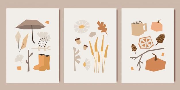 Jesienne projekty minimalistycznych grafik. wzory w stylu kubizmu.
