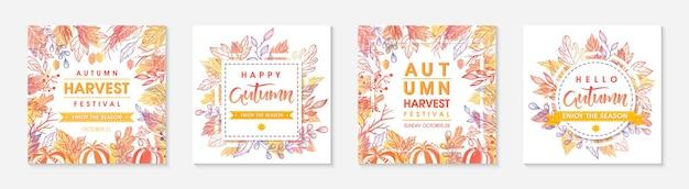Jesienne sezonowe posty z liśćmi i kwiatowymi elementami w jesiennych kolorach. pozdrowienia i plakaty z okazji żniw idealne do wydruków, ulotek, banerów, zaproszeń. modne jesienne wzory. jesienne ilustracje wektorowe