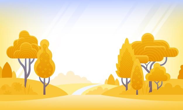 Jesienne tło ilustracja wektorowa w płaskim stylu ilustracja krajobrazowa z roślinami drzew