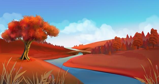 Jesienne tło. krajobraz przyrody