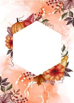 Jesienne tło kwiatowy z białą przestrzenią