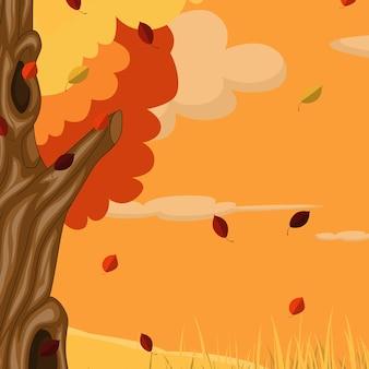Jesienne tło z drzewem i spadającymi liśćmi
