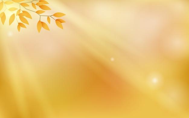 Jesienne tło z efektem bokeh, rozmazany obraz i miękkie światło słoneczne przenikają gałązki i liście