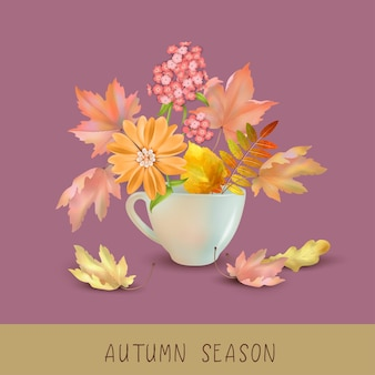 Jesienne tło z filiżanką pełną jesiennych liści i kwiatów