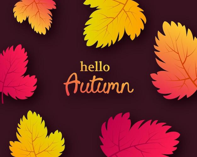 Jesienne tło z jesiennych żółtych liści i miejsce na tekst. projekt banera lub plakatu sezonu jesiennego. ilustracja wektorowa