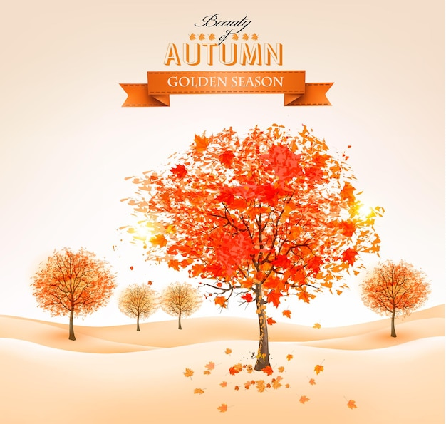 Jesienne tło z kolorowymi liśćmi i drzewami. ilustracja.