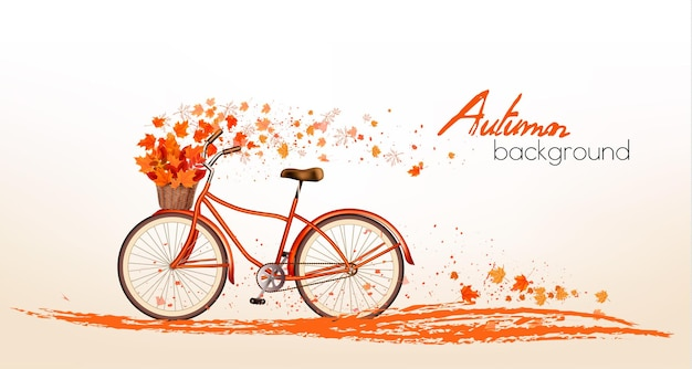 Jesienne tło z kolorowymi liśćmi i rowerem. wektor