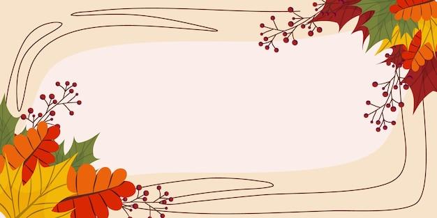 Jesienne tło z miejscem na tekst klon i inne liście i jagody jesienny sztandar