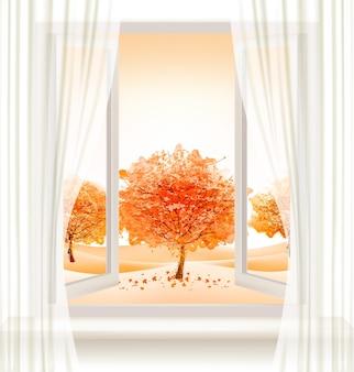 Jesienne tło z otwartym oknem i kolorowymi drzewami. wektor.
