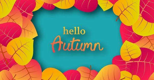 Jesienne tło z żółtymi liśćmi klonu i miejscem na tekst. projekt banera na baner sezon jesienny lub plakat. ilustracja wektorowa