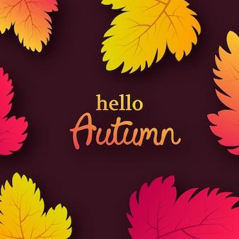 Jesienne tło z żółtymi liśćmi klonu i miejscem na tekst. projekt karty na baner lub plakat sezonu jesiennego. ilustracja wektorowa