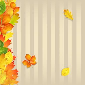 Jesienne tło z żółtymi, zielonymi, pomarańczowymi liśćmi i pionowymi paskami