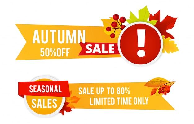 Jesienne ulotki sprzedaży. sezonowa sprzedaż banerów z kolorowymi liśćmi