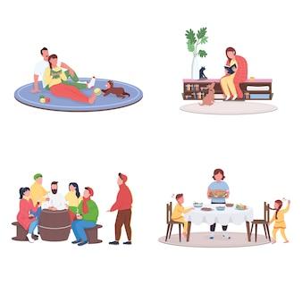 Jesienne wakacje ludzie płaski kolor bez twarzy zestaw ilustracji na białym tle