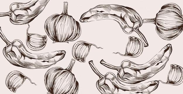 Jesienne warzywa wzór grafiki liniowej. zbiór pieprzu i cebuli