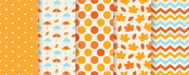 Jesienne wzory z jesiennymi liśćmi, kropkami, parasolem i zygzakiem. sezonowe nadruki geometryczne.
