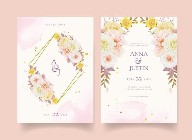 Jesienne zaproszenie na ślub akwareli dalii i róż