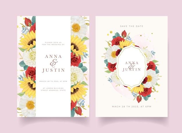 Jesienne zaproszenie na ślub akwareli słonecznikowej dalii i róż