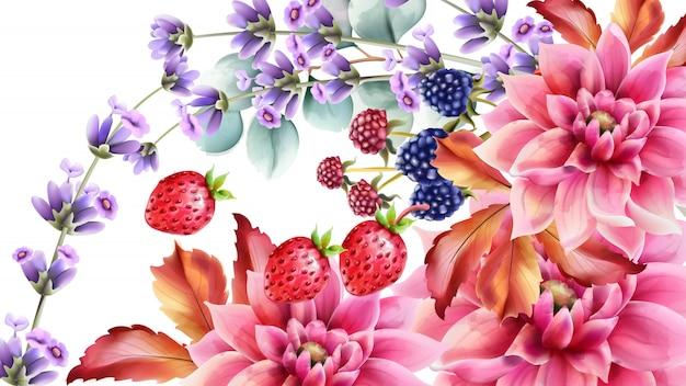 Jesienny bukiet jagód i kwiatów