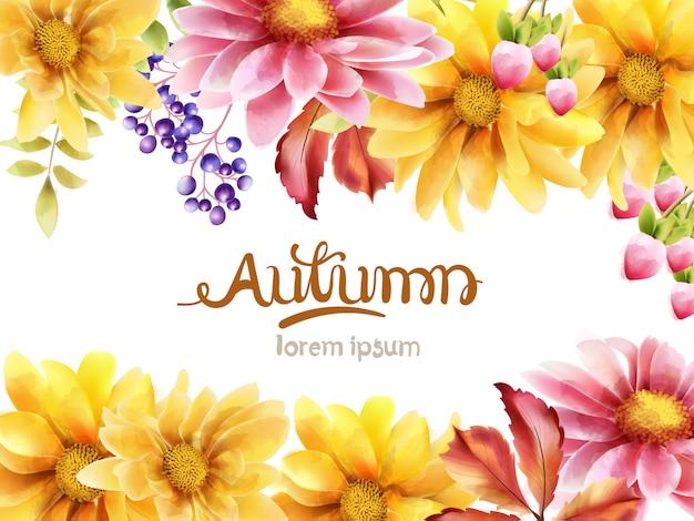 Jesienny bukiet kwiatów z stokrotką