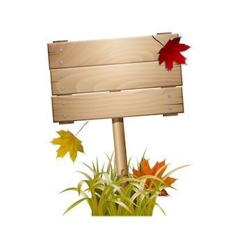 Jesienny drewniany znak w wyblakłej trawie ze spadającymi czerwonymi i żółtymi liśćmi. na białym tle