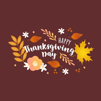 Jesienny dzień dziękczynienia ręcznie rysunek napis z jesiennych liści. szablony do sprzedaży banerów, ulotek