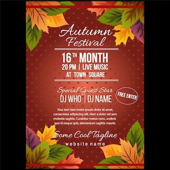 Jesienny festiwal plakat szablon z liści natury