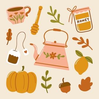 Jesienny hygge doodle przytulne rzeczy filiżanka herbaty czajniczek torebka na herbatę słoik miodu czerpak dynia cytryna żołądź liście klonu ilustracja
