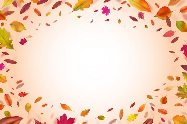 Jesienny jesienią spadające żółte liście. tło sezon przyrody