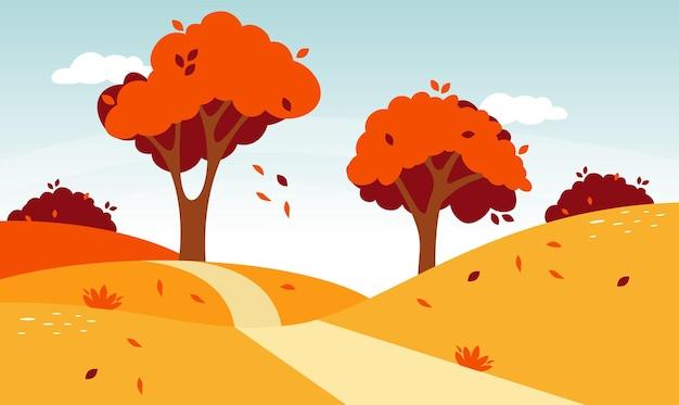 Jesienny krajobraz drogi. naturalny krajobraz leśny. wektor spadek liści natura ilustracja.
