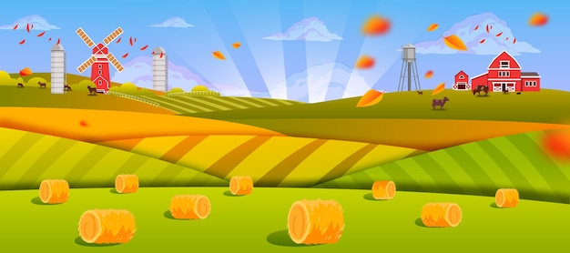 Jesienny krajobraz farmy ze stogami siana, zielonymi polami, wzgórzami, stodołą, młynem, krowami, promieniami słońca, opadającymi liśćmi