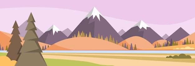 Jesienny krajobraz górski las niebo lasy